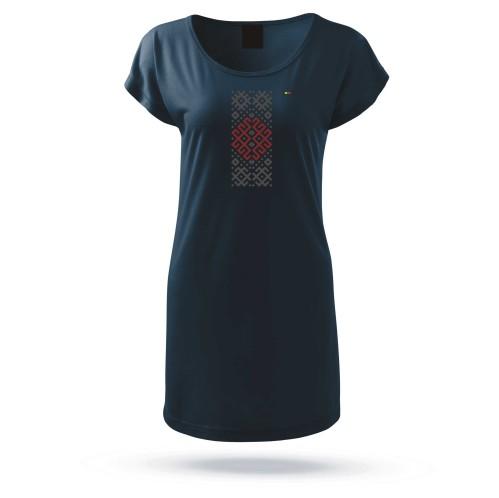 """Marškinėliai moteriški prailginti """"Audimo raštai 3"""""""